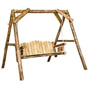 Log Porch Swing With A Frame Amish Made Deck Swings Lodge Cabin Deck Furniture