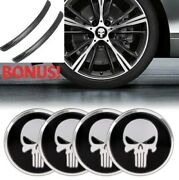 Car Center Wheels Hub Stickers Cups Cover Badge Decal Punisher Skull Design 4pcs