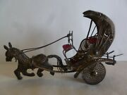 Vintage Sterling Silver Filigree Work Horse And Carriage Figurine- Moving Wheels