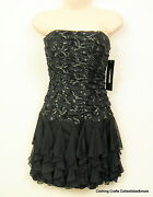 Jr Dress Black Lacey Prom Dance Party Short Strapless Sz S Or M My Michelle Nwt