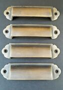 4 Antique Vintage Style Brass File Cabinet Bin Pull Cup Handles 3-1/8 Ctr A18
