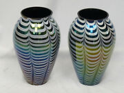 Pair Of Massive Vintage 60and039s Iridescent Pulled Feather Murano Glass Vase 15.75