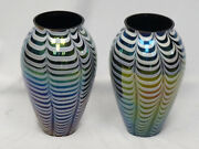 Pair Of Massive Vintage 60's Iridescent Pulled Feather Murano Glass Vase 15.75