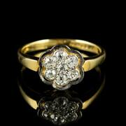 Vintage Diamond Cluster Flower Ring 18ct Gold Dated 1980