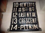 Ny Nyc Bus Roll Sign Brooklyn Original 1400 Series 53 New Lots Pitkin East N.y.