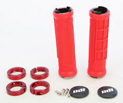 Odi Half Waffle Lock Clamp On 7/8 Handlebar Hand Grip Grips Atv Bmx - Red/red