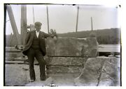 2 Glass Negatives Dublin Nh Library. Builder Alamander Ball And Cornerstone 1900