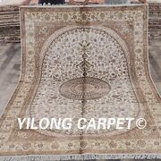 Yilong 6'x9' Hand Knotted Area Rug Home Decor White Handmade Silk Carpet Wy302c