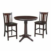 36 Round Extension Dining Table 34.9h With 2 San Remo Counter Height Stools