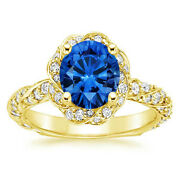 2.20 Ct Real Blue Sapphire Diamond 14k Solid Yellow Gold Wedding Rings Size 6.5