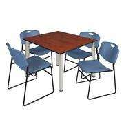 Kee 48 Square Breakroom Table- Cherry/ Chrome And 4 Zeng Stack Chairs- Blue
