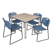 Kee 48 Square Breakroom Table- Beige/ Chrome And 4 Zeng Stack Chairs- Blue