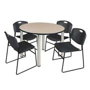 Kee 48 Round Breakroom Table- Beige/ Chrome And 4 Zeng Stack Chairs- Black
