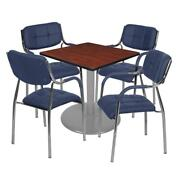 Via 30 Square Platter Base Table- Cherry/grey And 4 Uptown Side Chairs- Navy