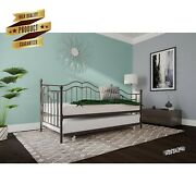 Metal Daybed Trundle Twin Farmhouse Iron Bed Frame Vintage Bronze Country Style