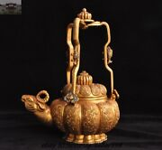 8.8 Old Chinese Dynasty Bronze 24k Gold Sheep Head Fish Teapot Kettle Wine Pot