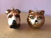 Pair 2 Vintage Christmas Glass Ornaments Cat And Dog Animal Holiday Decor Gift
