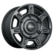 Ultra 450 Super Single 16x8.5 6x205 Et+55 Black With Satin Clear Coat Qty Of 4
