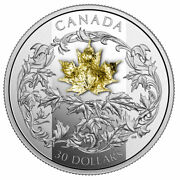 2018 Canada 30 Golden Maple Leaf Coin 99.99 Silver Proof Finish W Gold Leaf