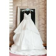 Hayley Paige Apollo Wedding Dress Ivory Altered Street Sz 8 Ball Gown Sweetheart