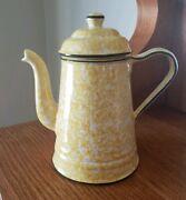 Vintage Stangl Town And Country Yellow And White Spongeware Coffee Pot 5 Cup 1970and039s