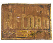 Antique The Philadelphia Record Vintage Newspaper Sign Advertising 1800s Old