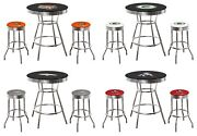 5pc Nfl Team Logo Decal Bar Table Set Black And Chrome Swivel Seats Glass Top