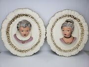 Victorian Lady And Gentleman Sculpture Bust Hanging Oval Chalkware Frame