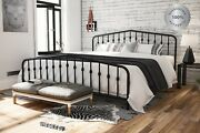 Metal Bed Frame King Farmhouse Iron Sturdy Vintage Modern Black Country Style Us