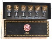 Gianni Versace Medusa 24k Gold Footed Wine Water Glass Set Of 6 Retail 2700 Ag