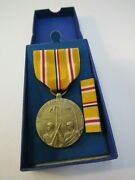 Original Us Ww2 Asiatic Pacific Medal And Ribbon Campaign And Service W/ Box Nos