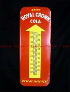 Large 1950s Royal Crown Cola Rc 25½ X 9¾ Inch Thermometer Arrow V2