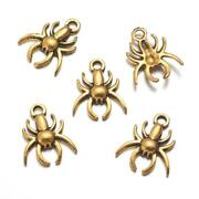 10 Spider Charms Antique Gold Tone Arachnid Halloween Pendants Findings