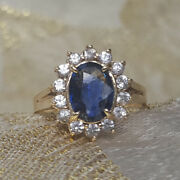 1.75 Ct Genuine Diamond Blue Sapphire Rings 14k Solid White Gold Size 4.5 5 6 7