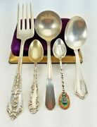 Eclectic Lot Of 5 Vintage Sterling Spoons Baby Ladle Fork Demi Indian Souvenir