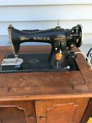 Vintage Singer Electric Sewing Machine Model 15-91 With Cabinet Circa 1932
