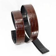 Belt Replacement No Buckle Crocodile Leather Double Side |w3.8cm | Black / Brown
