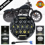 Dot 7 Inch Motorcycle Led Headlight Halo For Harley Davidson Touring Sportster