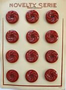 Vintage Buttons - 12 Barn Red Casein 2-hole 1 Carved Pin Wheel Buttons - France