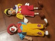 Pinocchio And Clown Wooden Puppet Marionette Vintage Style 16