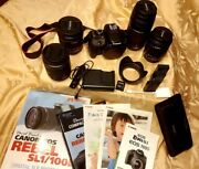 Cannon Digitalandnbspincluded Camera Body 4 Lenses Wide Angle And Zoom 3 Batteries