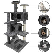 53 Cat Tree Activity Tower Pet Kitty Furniture With Scratching Posts Ladders