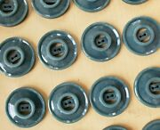 Vintage Buttons - 24 Teal Color 2-hole Carved Casein 7/8 Open Center Buttons
