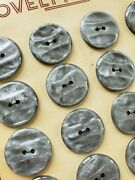 Vintage Buttons - 24 Fossil Gray 2-hole Casein Ridged 7/8 Buttons - France