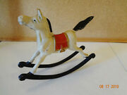Vintage Cast Iron Metal Painted Rocking Horse Door Stop - Nursery Decor