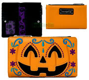Loungefly Orange Emo Pumpkin Zipup Purple Lining Clutch Wallet For Phone And Cards