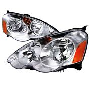 For 02-04 Acura Rsx Dc5 Jdm Chrome Headlights W/ Amber Reflector Type S Base K20