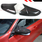 For 16-19 Honda Civic Real Carbon Fiber Wing Horn Style Mirror Cover Replacement