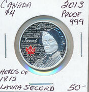 Canada Fine Silver 4 Dollars 2013 Proof Heroes Of 1812 Laura Secord