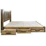 King Farmhouse Style Platform Bed With Storage Drawers Amish Made Rustic Beds